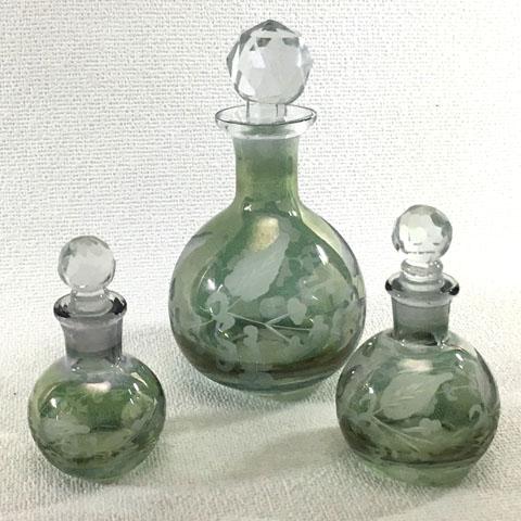 フランス ブロカント  ガラス瓶 (3本セット)