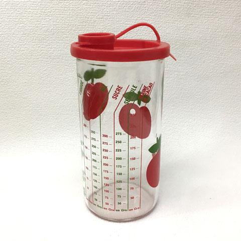 フランス ブロカント HENKEL りんご柄 メジャー フタ付き