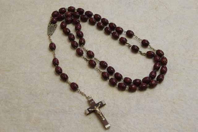 アンティーク ロザリオ ビザンチンの聖マリア(木製)