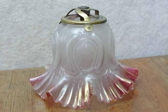 フランス ブロカント ガラス ランプシェード(ピンク)