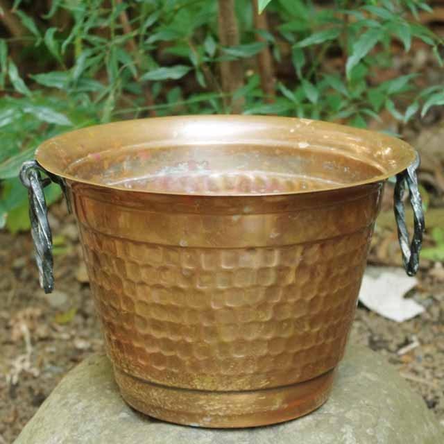 フランスブロカント 銅製 植木鉢ポット