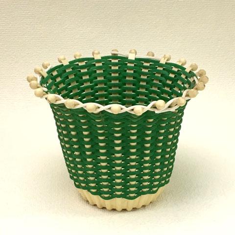 フランス ブロカント グリーンかご  植木鉢カバー