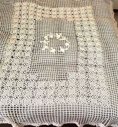 フランス ブロカント 手編みレース ベッドカバー(セミ ダブルサイズ)