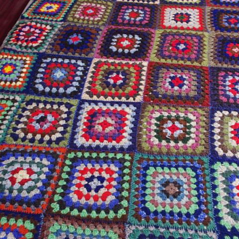 フランス ブロカント 手編みベッドカバー (ダブルサイズ)