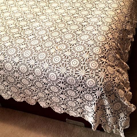 フランス ブロカント 手編みレース ベッドカバー(200×200)
