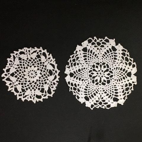 手編みレース 円形ドイリー 2枚セット #2