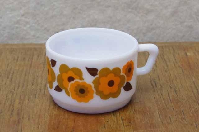 アルコパル デミタスカップ  (オレンジ 花柄)