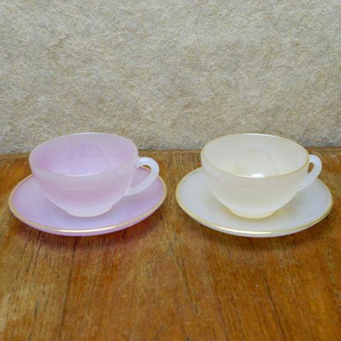 アルコパル ミニカップ&ソーサー (ピンク、オレンジ)