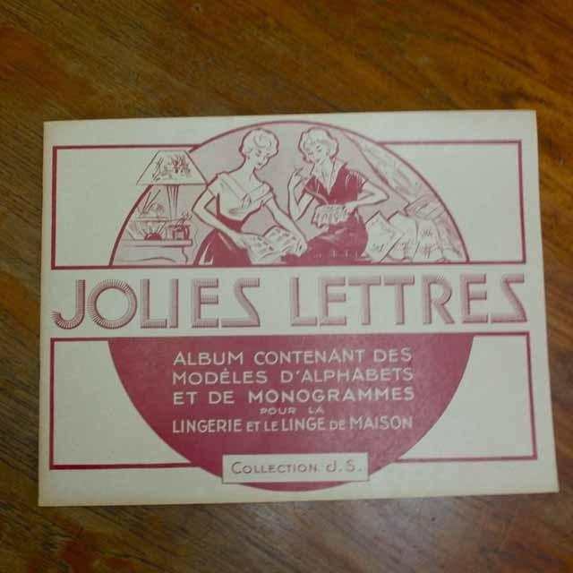 """ビンテージ本 """"JOLIES LETTRES""""文字刺繍デザイン集(1958年)"""