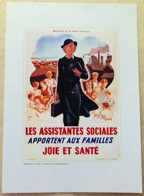 """フランス ブロカント""""les assistantes sociales"""" ポスター"""