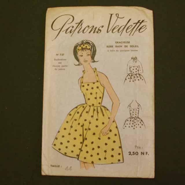 フランスブロカント 型紙(ベアトップワンピース)1950年代