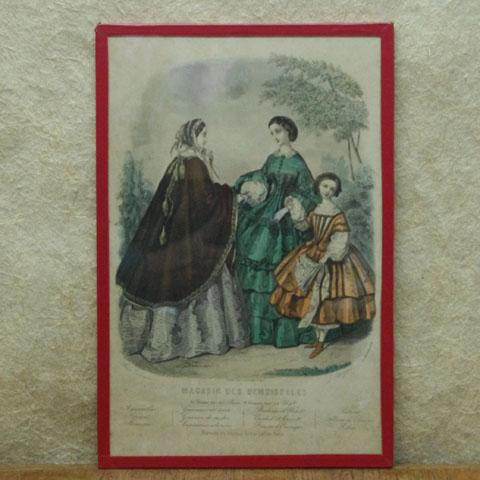 """フランス ブロカント 額装  """"Magasin des Demoiselles"""" (1858年)"""