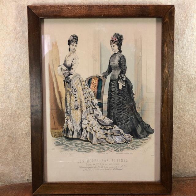 """フランス ブロカント 額装  """"Les Modes Parisiennes"""""""