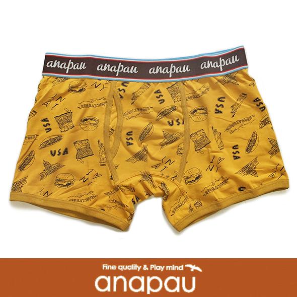 anapau アナパウ ボクサーパンツ アメリカ柄 マスタード P-1614