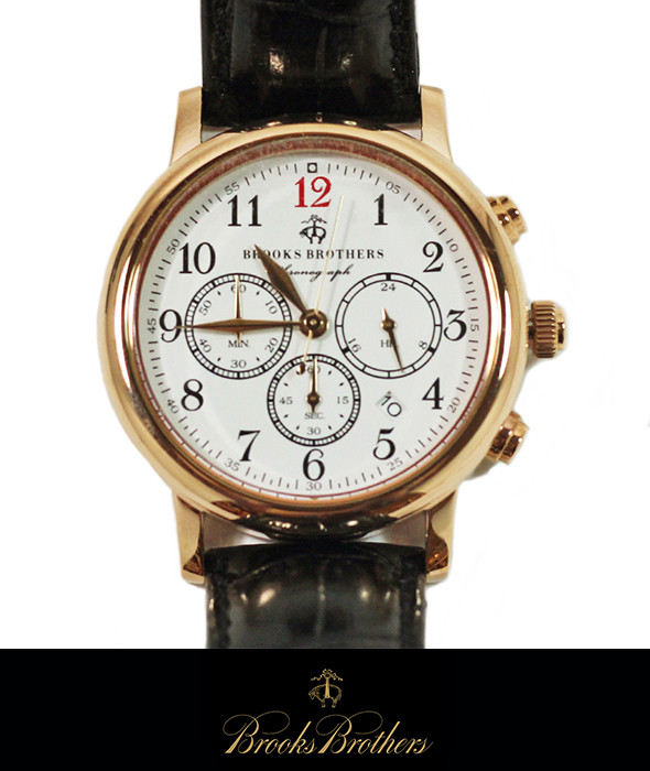 BrooksBrothers レザーベルトクロノグラフウォッチ 腕時計GOLD