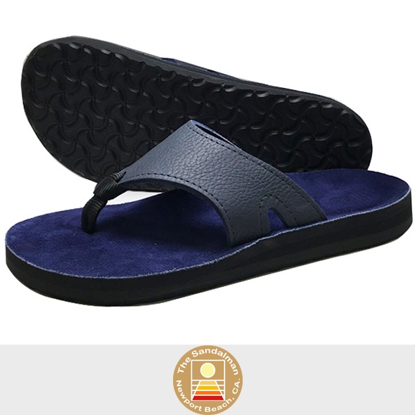 【SANDALMAN】 WIDE STRAP Leather Sandal BLUE