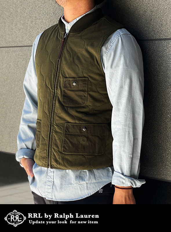 RRL ダブルアールエル Quilted cotton jersey vest