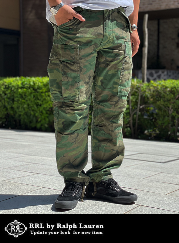 RRL ダブルアールエル Camo cotton cargo pants