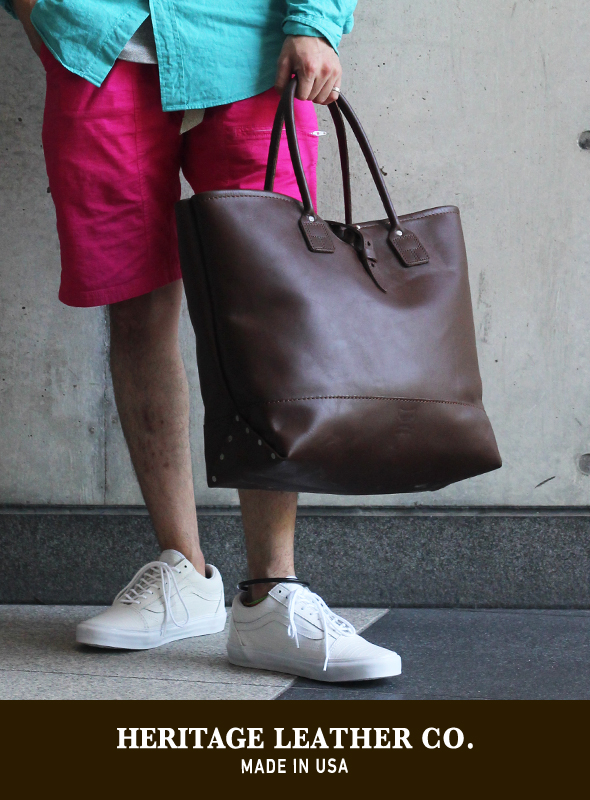 【HERITAGE LEATHER】 MOCCASIN LEATHER TOTE BAG BROWN