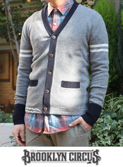 """The Brooklyn Circus ブルックリンサーカス """"Classic Knit Cardigan"""" GRAY/NAVY"""