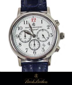 BrooksBrothers レザーベルトクロノグラフウォッチ 腕時計SILVER