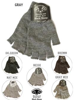 BLACK SHEEP ブラックシープ フィンガーレスニットグローブ#4 手袋  6カラー