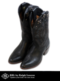 RRL Studded Western Cowboys Boots BLACK