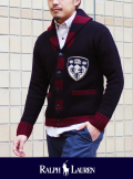 POLO RALPH LAUREN ポロ ラルフローレン SHAWL COLLAR LETTERED CARDIGAN ネイビー
