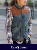 POLO RALPH LAUREN ポロ ラルフローレン LEATHER YORK DOWN VEST◆SALE 50% off◆
