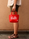 NEWYORK UNIVERSITY  カレッジプリントキャンバスランチバッグ  RED