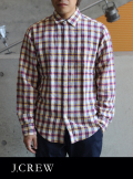 J.CREW ジェイクルー リネンチェックシャツ NT/PPL/YL