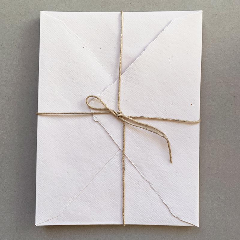 Indian Handmade Cotton Paper/封筒5枚セット Mサイズ