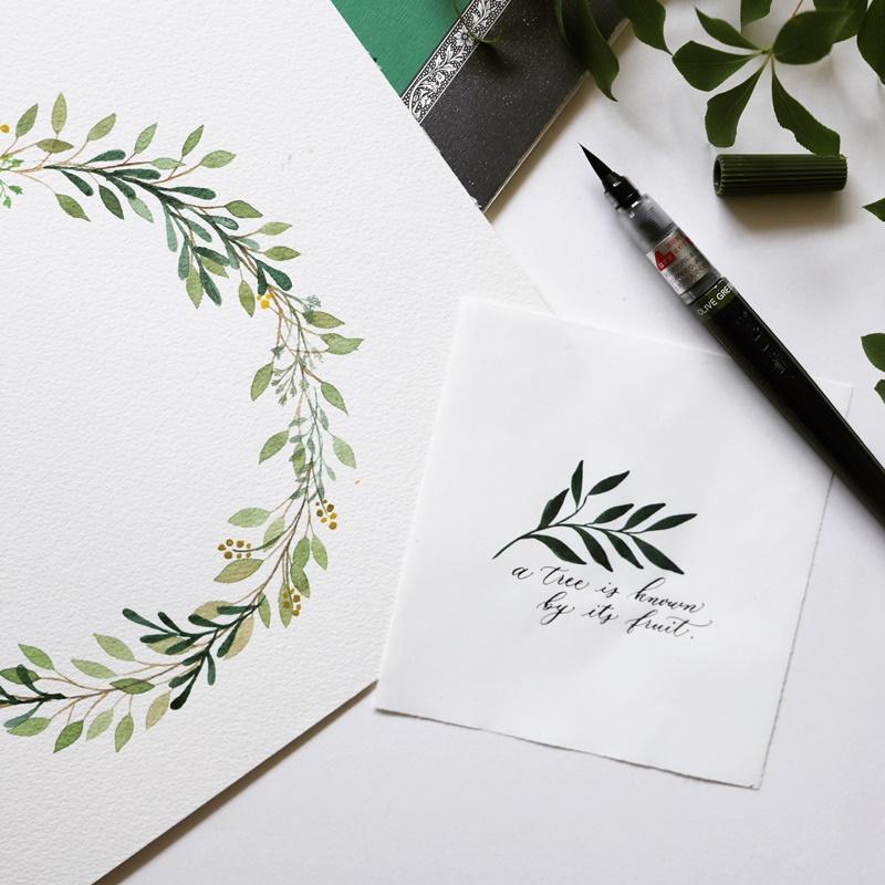【Brush Pen Calligraphy】 Maki Shimano - Insta Live Lesson(リースの書き方&クリスマスカードづくり)12/8