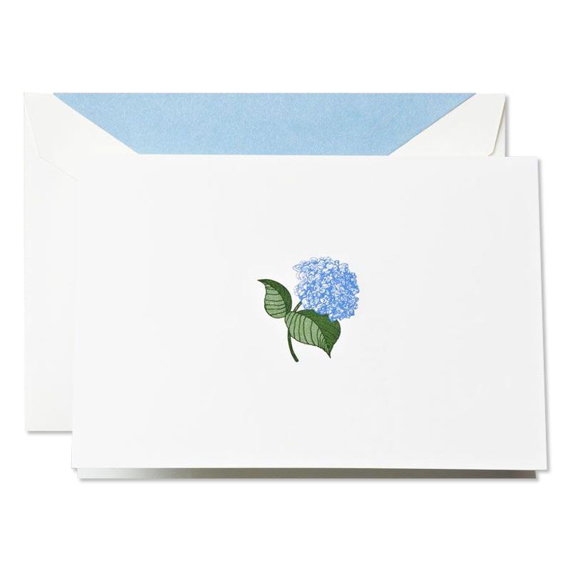 クレイン/ボックスカード/Hand Engraved Blue Hydranges Notes on Pearl White Kid Finish paper