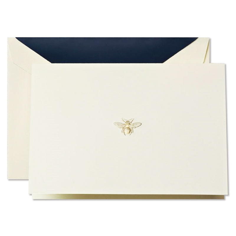 Crane/ボックスカード/Hard Engraved Bee Notes on Ecru Kid Finish Paper