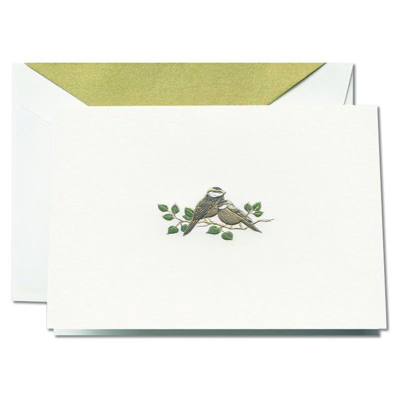 Crane/ボックスカード/Engraved Love Bird Note