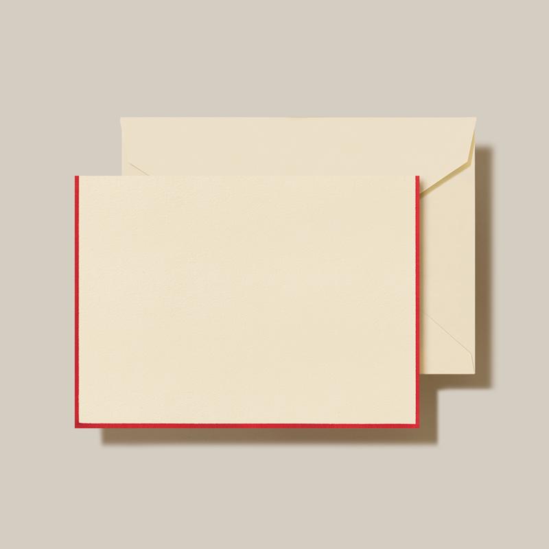Crane/ボックスカード/Folded Ecru/Red Border with Ecru Envelope(10 Cards / 10 Envelopes)