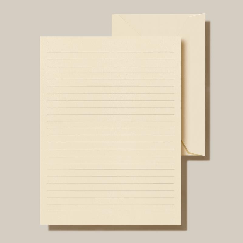 Crane/便箋セット/Ecru White Ruled Half Sheets on Ecru White Kid Finish Paper