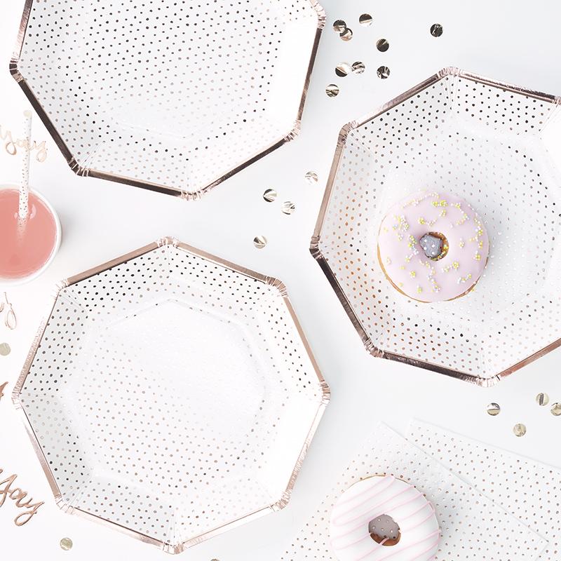 Ginger Ray/ローズゴールド ドット柄ペーパープレート/Rose Gold Foiled Spotty Paper Plate