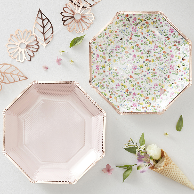 Ginger Ray/フローラルペーパープレート/Rose Gold Foiled Floral Paper Plate