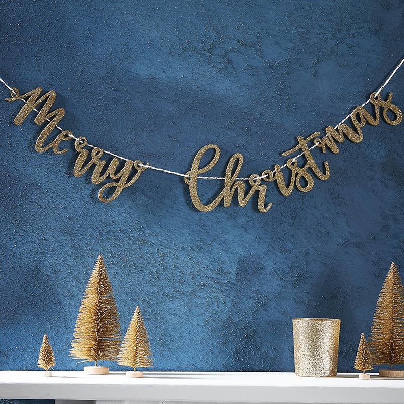 ジンジャーレイ/クリスマス木製レターバナー・グリッターゴールド/Merry Christmas Letter Banner Glitter Gold