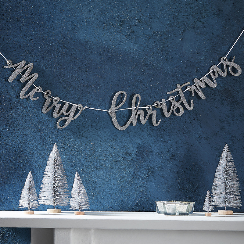 ジンジャーレイ/クリスマス木製レターバナー・グリッターシルバー/Merry Christmas Letter Banner Glitter Silver