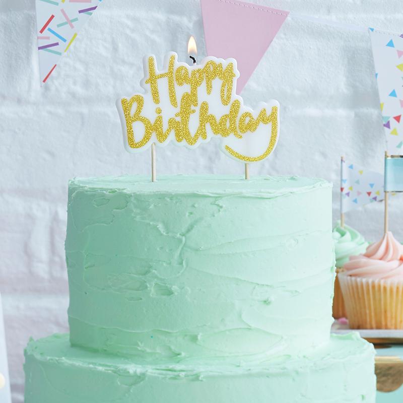Ginger Ray/キャンドル/Happy Birthday Gold Candle