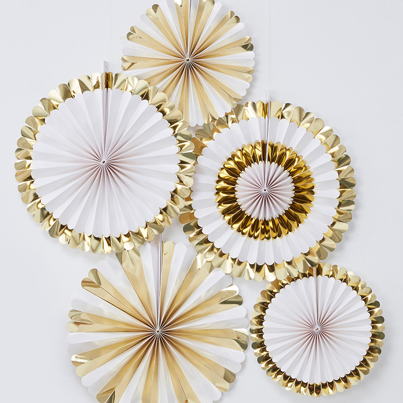 Ginger Ray/ペーパーファン/Fan Decorations - Gold and White