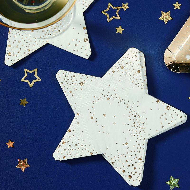 Ginger Ray/ペーパーナプキン/Gold Star Shaped Paper Napkins