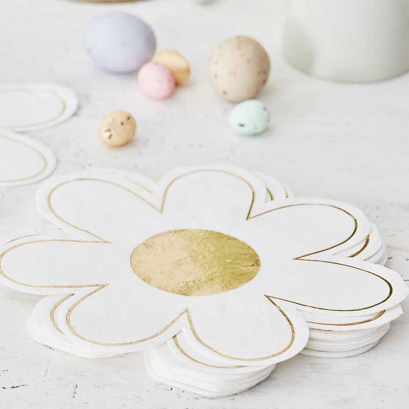 Ginger Ray/ペーパーナプキン/EASTER NAPKINS DAISY SHAPED WITH GOLD FOIL