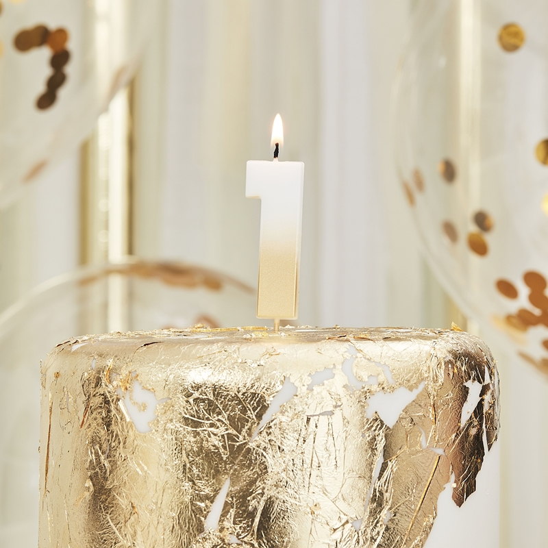 Ginger Ray/キャンドル/GOLD OMBRE 1 NUMBER BIRTHDAY CANDLE