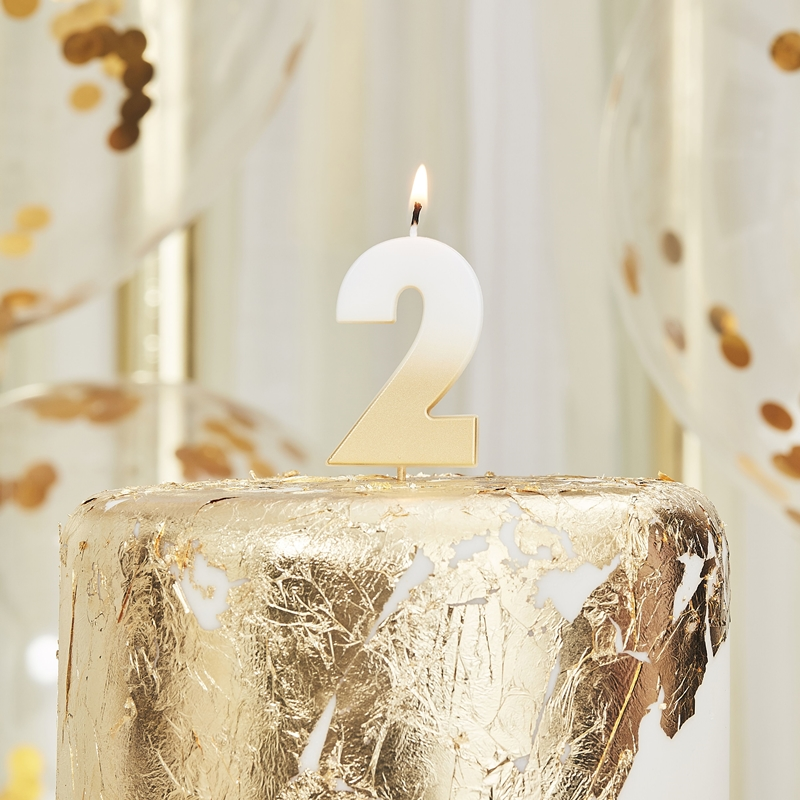 Ginger Ray/キャンドル/GOLD OMBRE 2 NUMBER BIRTHDAY CANDLE