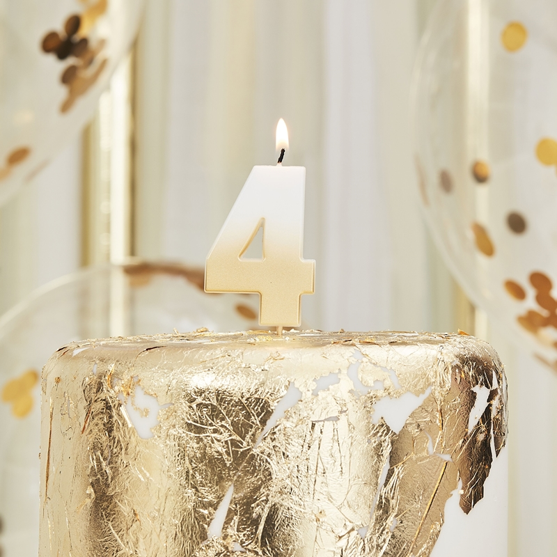 Ginger Ray/キャンドル/GOLD OMBRE 4 NUMBER BIRTHDAY CANDLE
