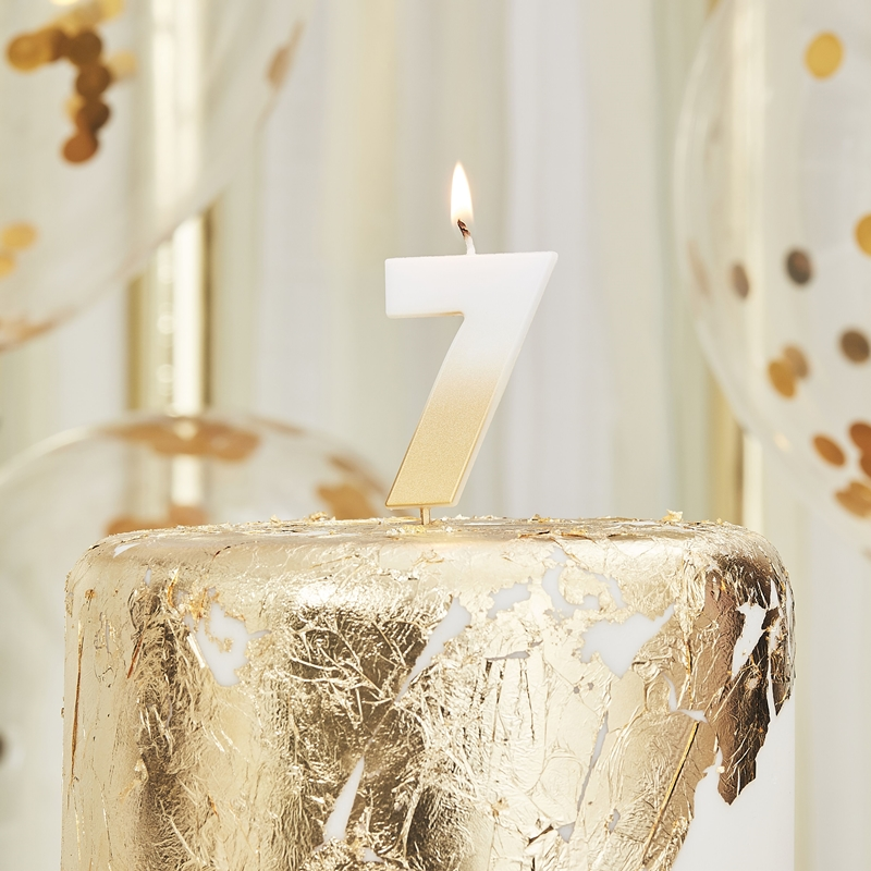 Ginger Ray/キャンドル/GOLD OMBRE 7 NUMBER BIRTHDAY CANDLE